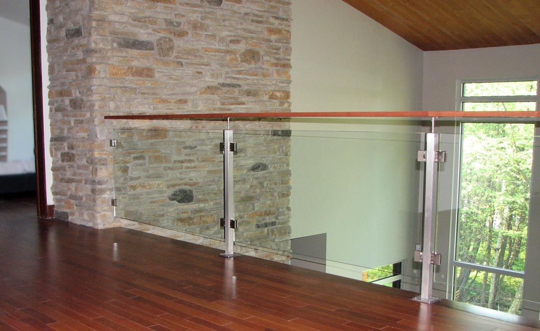 Glass interior handrails